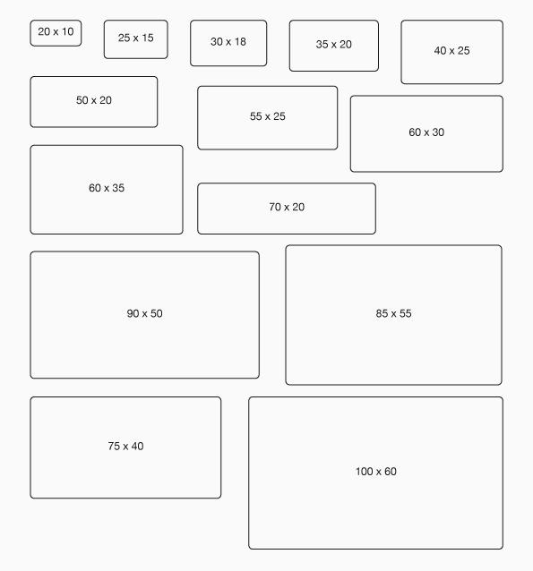 Übersicht Rollenetiketten-Formate Rechteck